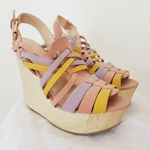 Multi-colored strappy wedge platform sandals